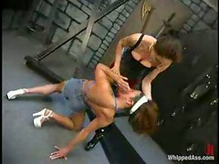 Kym Wilde enjoys being beaten by brunette dominatrix Rebecca Lord