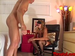 Blindfolded siren gets that big cock in her mouth