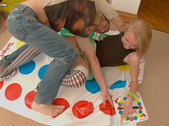 Blonde babe in socks gets fucked nicely after playing twister