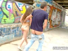 Naked and sexcited under the bridge with Carla Cruz