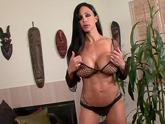 Hardcore big-boobed babe Jewels touches her nipples