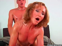 Grandma with cute titties gets fucked by guy half her age