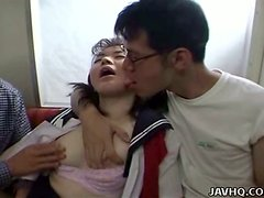 Horny Asian girl gets threesomed in a subway train