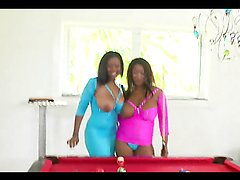 Busty ebony babes have a threesome with a very lucky guy