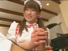 Japanese maid goes down on his cock