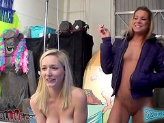 Two gorgeous and horny blonds are gonna share that dude