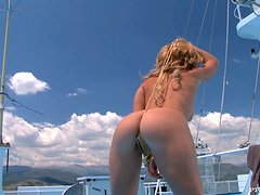 Horny Brooklyn Lee gets fucked had on yacht deck