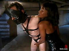 Ebony mistress whips and toys the guy in a basement