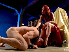 Smoking hot redhead bitch is pegging her slave