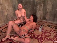 Strapon Fucking during Electrical Torture in Lesbian BDSM Session