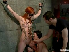 Sexy redhead and kinky brunette are getting tortured