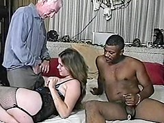 Curvy blonde enjoys interracial MMF banging in homemade video
