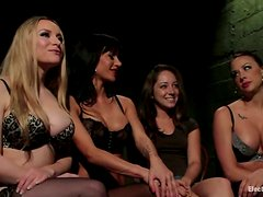 Three Girls Face Sitting and Toying a Submissive One in Femdom Lesbian Vid