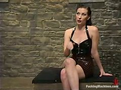 Ariel X moans with delight while being banged by a fucking machine