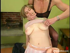 Blonde chick gets whipped and toyed in both holes
