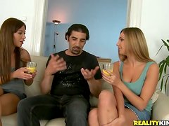 Amy and her GF get their vags licked and pounded in FFM threesome