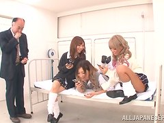 Three Japanese Babes With Hairy Pussy Fucked Missionary By Older Man