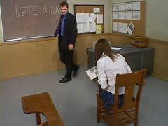 Audrey Leigh Tied Up Against Blackboard and Toyed Extremely