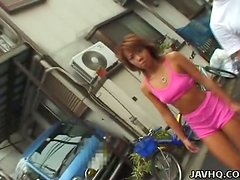 Petite Japanese girl gets her boobs fondled in the street