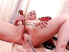 Blonde exotic playing with herself for camera