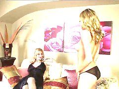Two blondes, milf and a teen babe, Nicole Ray and Nina Hartley spend some quality time