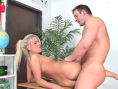 Superb blonde nympho gets her pussy eaten and fucked hard