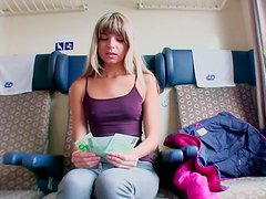 Pretty teen Gina Gerson gives blowjob for cash