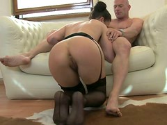 Depraved and seducted Angelique Duval sucked a cock of her old friend