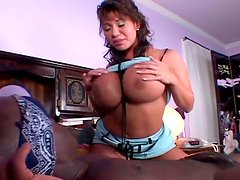Juggy tanned babe gives blowjob and massages dick with her assets