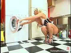 Busty main in erotic stockings is being poked by a machine