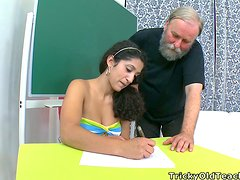 Old Bearded Teacher Banging a Brunette Teen's Twat