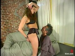 Kym Wilde Spanking and Dominating Ugly Old Man in Femdom Vid