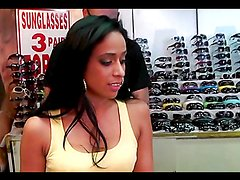 Horny Latina rides a big cock in the back of a shoe store