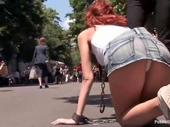 Kinky redhead gets to fuck with her nipples twitched