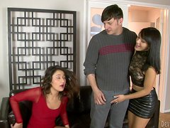 Two brunette girls get pounded and facialed in FFM video
