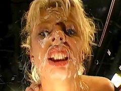 Anal blonde has so much cum in mouth in this vid