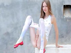 Beautiful shower from thin copulate doll