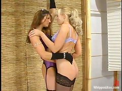 Bondage Action for Busty Blonde in Lesbian Femdom Clip