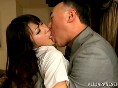 Old Japanese Guy Banging a Sexy School Girl's Pussy