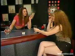 Aly gets spanked, whipped and fucked by Kym Wilde indoors