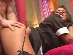 Sexy chocolate whore Keisha gets her pussy fucked from behind