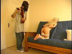 Having this smoking hot babe tied up in your place is so good