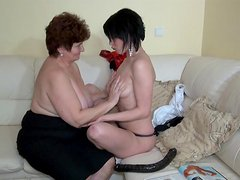 Fat granny Hana is fucking with a brunette
