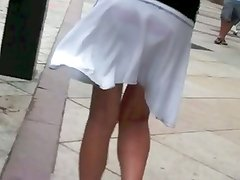 asian teen with see through skirt and pink panties vpl