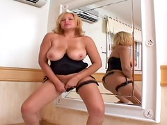 horny cougar gives herself all to this dude with a huge one