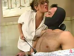 Horny blonde female doctor humiliates her patient in femdom show
