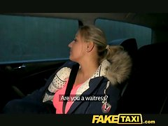Cute blonde girl gives a titjob and a blowjob in a taxi