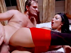 Alluring brunette whore gets anal fucked in missionary position
