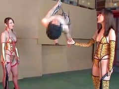 Dominant women abuse bound submissive guy