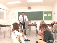 Sweet asian college girls suck and fuck their teacher.